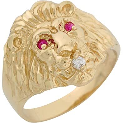 10k Yellow Gold Simulated Ruby White CZ Lion Head Mens Ring Amazon