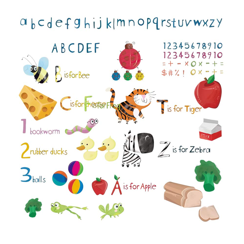 decalmile Animal Alphabet ABC and Number Wall Stickers Childrens Education Wall Decals Baby Nursery Bedroom Classroom Kids Room Wall Decor by decalmile