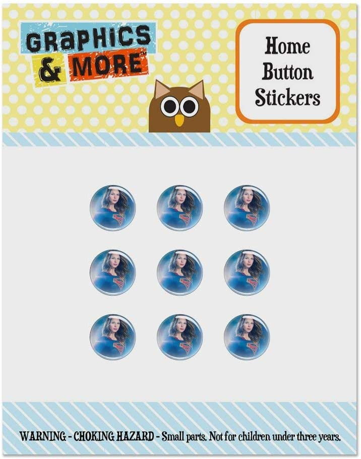 Supergirl TV Series Supergirl Character Set of 9 Puffy Bubble Home Button Stickers Fit Apple iPod Touch, iPad Air Mini, iPhone 5/5c/5s 6/6s 7/7s Plus