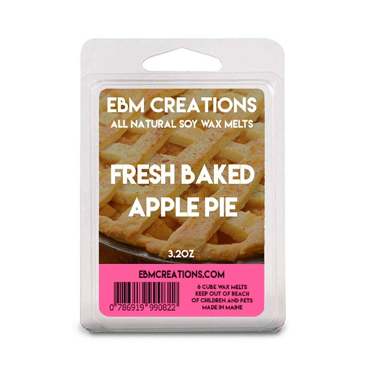 Fresh Baked Apple Pie - Scented All Natural Soy Wax Melts - 6 Cube Clamshell 3.2oz Highly Scented!