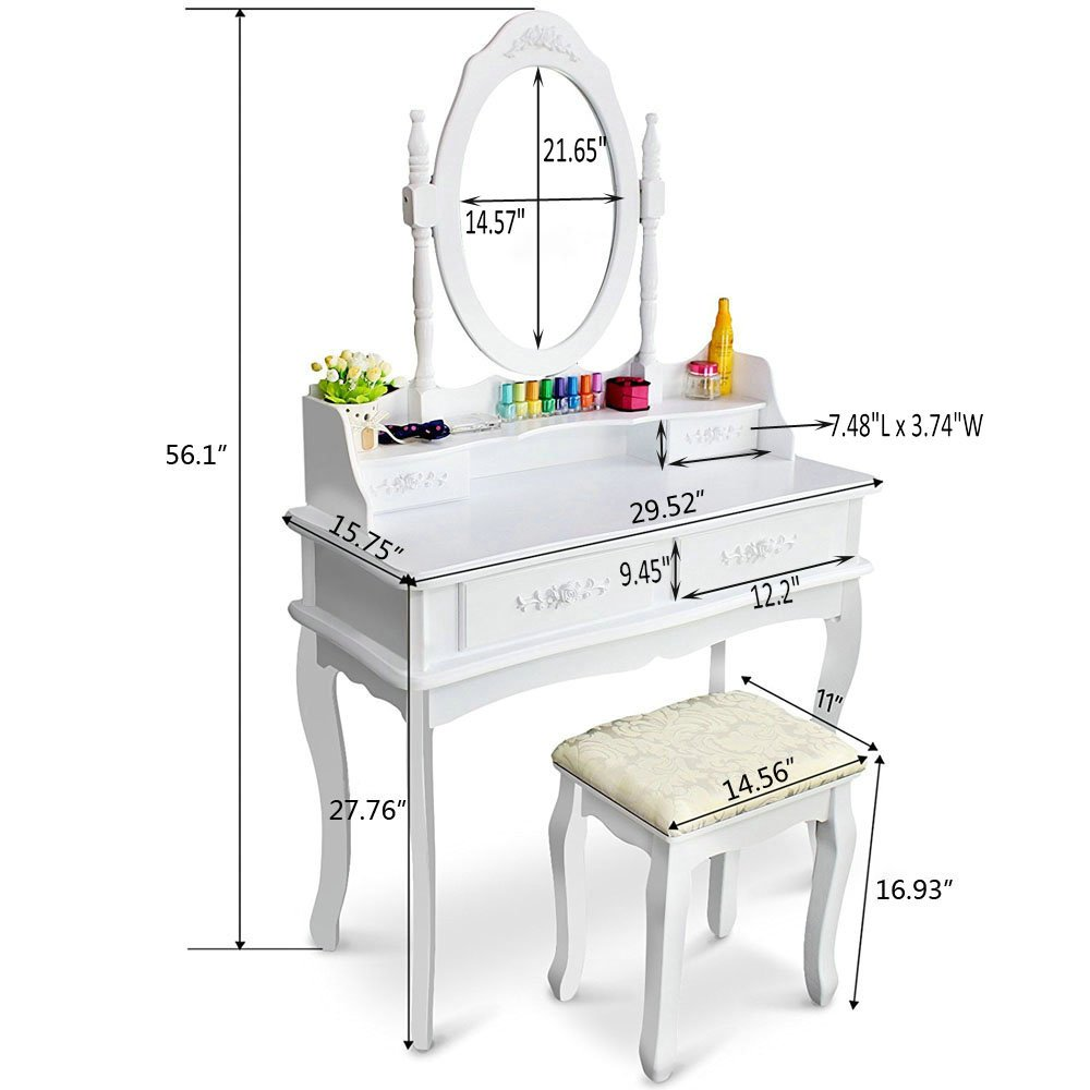 FCH Wooden White 4 Drawers Vanity Table Set Princess Vanity Makeup Table with Cushioned Stool by FCH (Image #4)