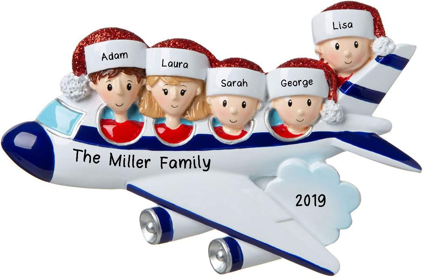 2019 Flying Plane Travel Family 3 Traveling Personalized Christmas Tree Ornament