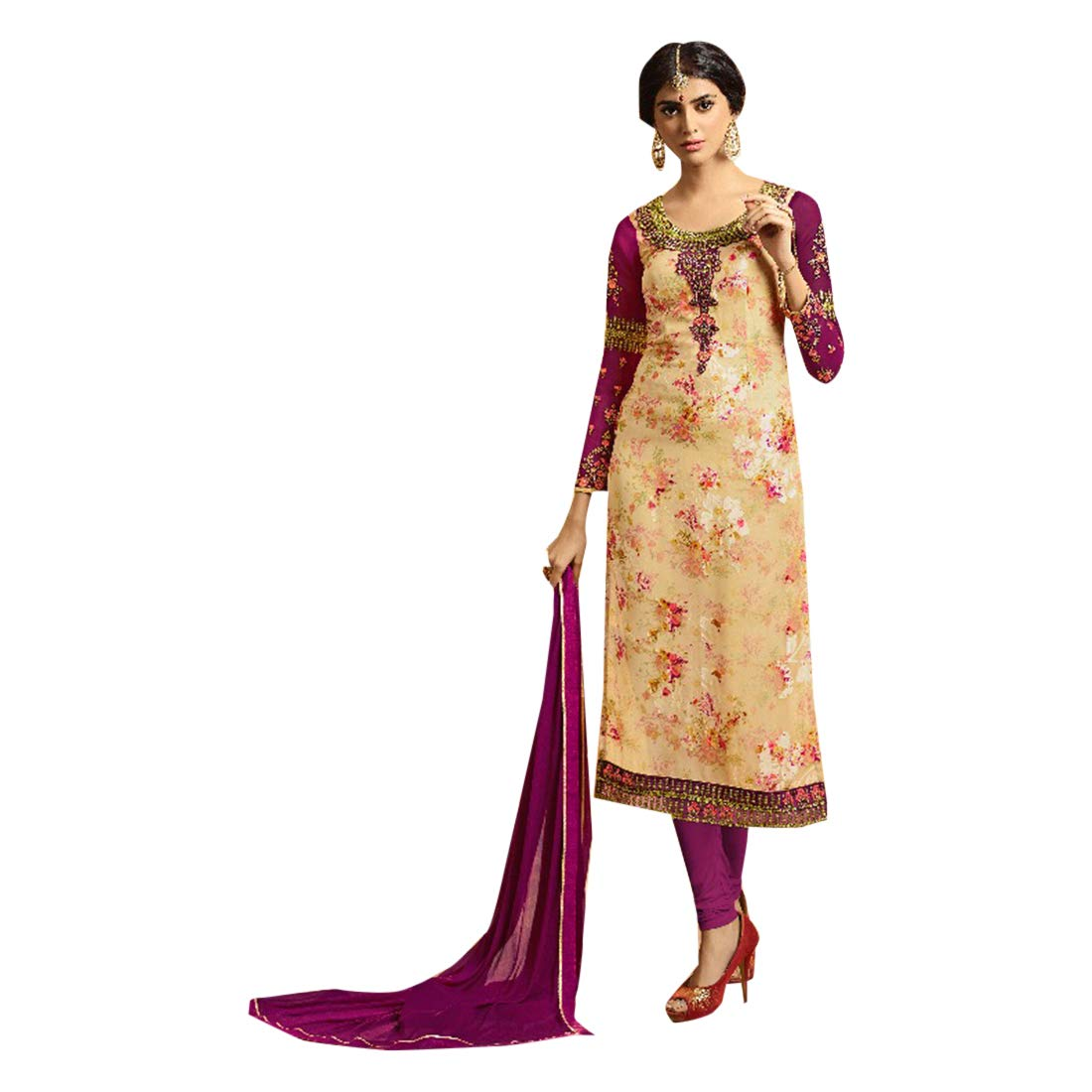 Designer Long Dress Indian Ethnic Salwar Kameez Suit With Dupatta Pajami Style Party Wear 7141
