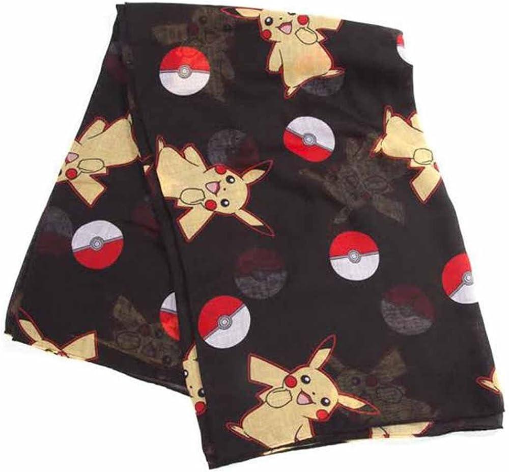 POKEMON Unisex Pokéball and Pikachu Scarf, Black, One Size