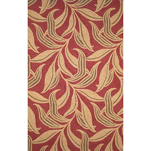 Liora Manne Ravella Leaf Rug, Indoor/Outdoor, 7-Feet 6-Inch by 9-Feet 6-Inch, Red