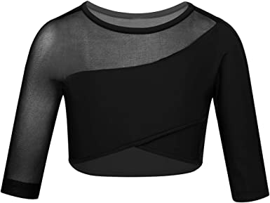 inlzdz Kids Girls Athletic Mesh Splice T-Shirt Crop Top for Gymnastic Workout Sports Ballet Dance Performance Costume Outfit