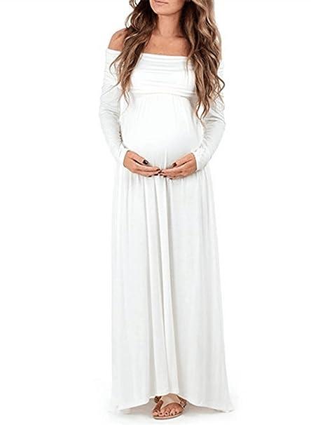 CLOCOLOR Premamá Vestido Largo Manga Larga Off Hombro Vestido Largo Plisado Elegante para Mujer Embarazada Trajes