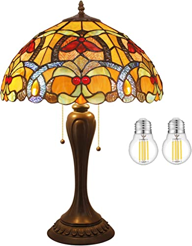 Tiffany Style Table Lamp W16H24 Inch LED Bulb Included Orange Stained Glass Crystal Shade S617 WERFACTORY Desk Bedside Reading Light Lover Friend Living Room Bedroom Cafe Office Antique Art Craft Gift