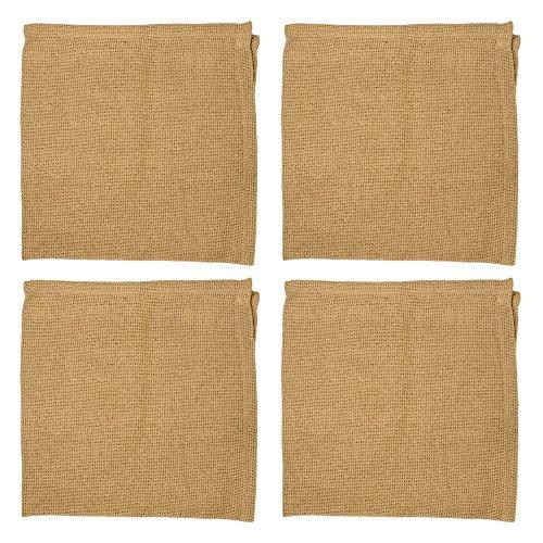 Camel Color Primitive Textured 18 x 18 Inch All Cotton Burlap Napkin Set of 4