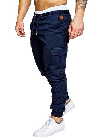 Pantalones de Hombre Casuales Chino Deporte Joggers Pants Algodón Slim Fit Jeans Cargo Trouser