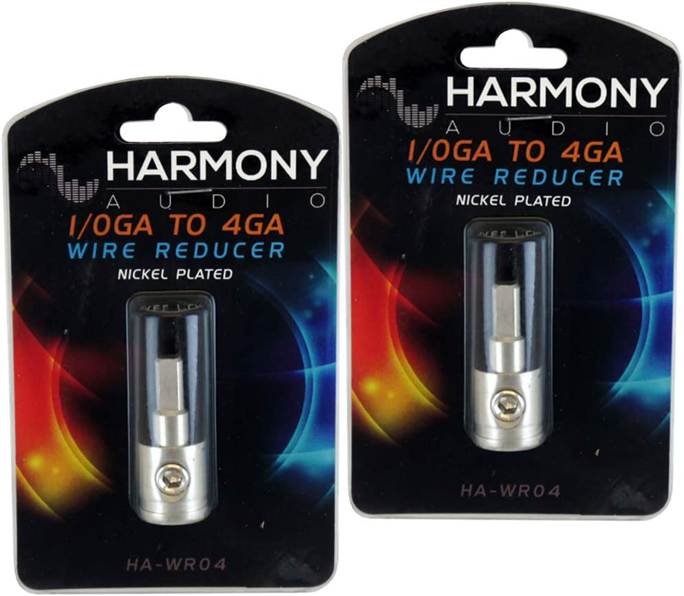 Harmony Audio HA-WR04 Car Stereo Power//Ground 1//0 to 4 Gauge Wire Reducer Pair