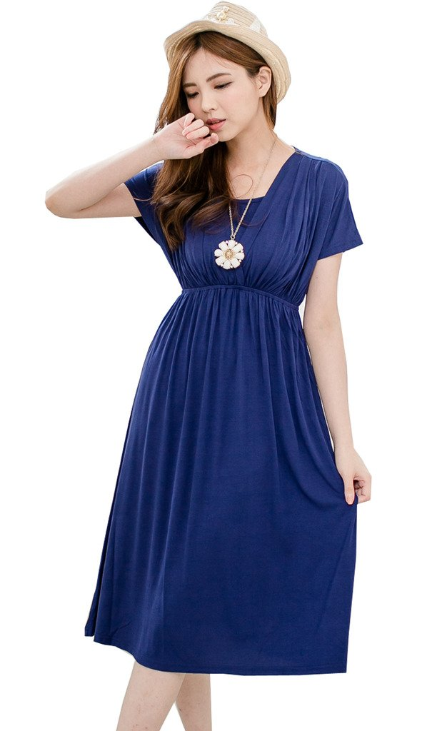 Bearsland Women's Long Style Maternity Breastfeeding Dress, Blue, Medium