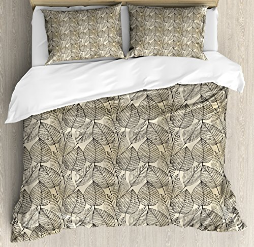 Ambesonne Beige Duvet Cover Set King Size, Autumn Geometric