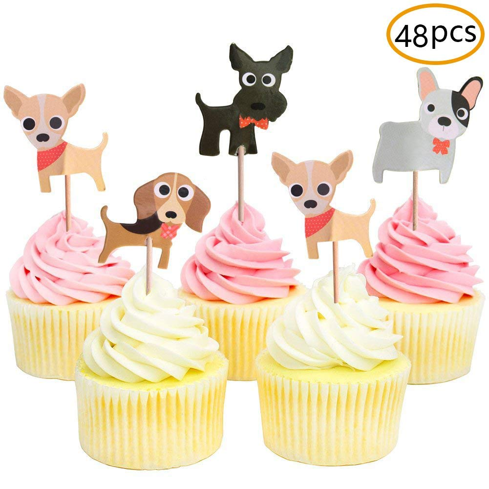 amazon com dog cupcake toppers puppy cupcake toppers pet theme baby rh amazon com