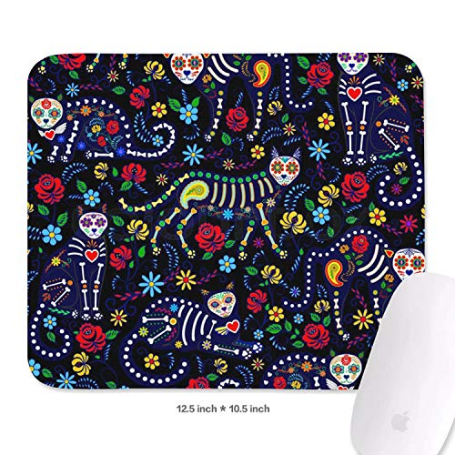 (Family Game Office Mouse Pad Calavera Cats and Sugar Skills for Day of The Dead Classic Laptop Non-Slip Rubber Rectangular Mouse Pad)