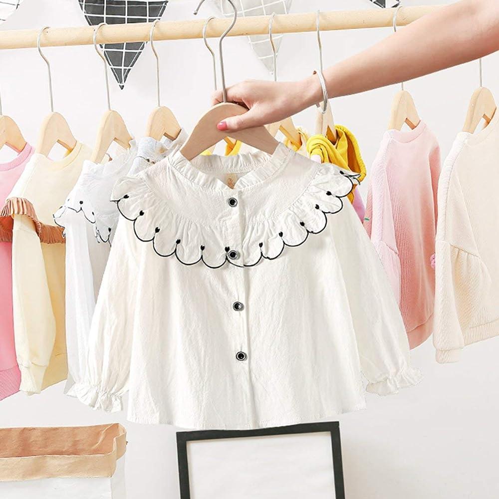 Camisa de Primavera para niñas Cuello de Encaje Coreano Camisa de Manga Larga Informal Camisa de bebé extranjera Marea - Blanco + 90cm: Amazon.es: Ropa y accesorios