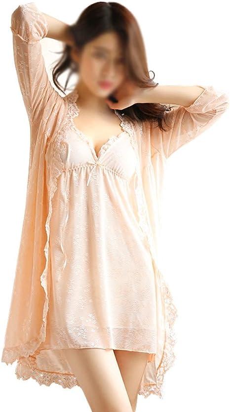 Pijamas De Mujer Sexy Batas De Verano Camisón Suave V Vestido De Cuello Dama Vestido Camisón De Encaje Sin Mangas, Orange-L: Amazon.es: Ropa y accesorios