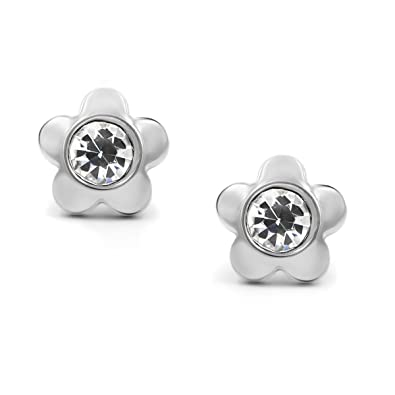 Amazoncom 316l Surgical Stainless Steel Flower Cubic Zirconia