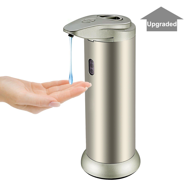 Distributore automatico di sapone, Sobotoo dispenser di sapone in acciaio inox Touchless sensore di movimento a raggi infrarossi IR dispenser di sapone per cucina bagno con base impermeabile (300ml, champagne)