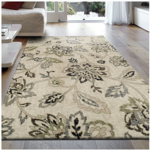 Superior Jacobean Collection Area Rug, 8mm Pile Height with Jute Backing,  Beautiful Floral Pattern, Fashionable and Affordable Woven Rugs, 4' x 6' Rug,