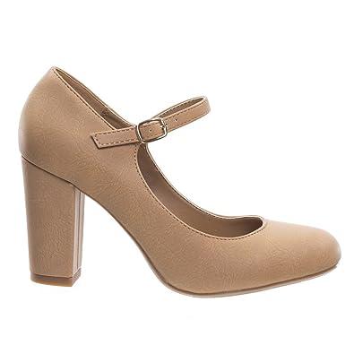 43fff52a99a City Classified Women's Closed Toe Ankle Strap Block Heel Light Tan 8