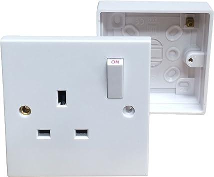Enchufe de pared individual con caja de dispositivoToma eléctrica con interruptor: Amazon.es: Bricolaje y herramientas
