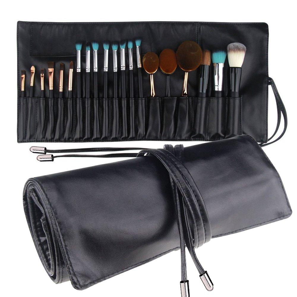 MLMSY Make-up-Tasche für Make-up Pinsel Professionelle Kosmetik Organizer Schönheit Künstler Speicher Pinsel Tasche mit Gürtel Strap Make-up Handtasche Beutel Make-up Pinsel Halter (schwarz)
