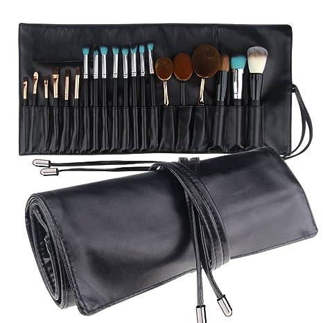 MLMSY Bolsa de maquillaje para pinceles de maquillaje Rolling Bag Brush Holder Organizer Cosmetic Bag Travel Portátil 18 bolsillos Funda de cuero ...