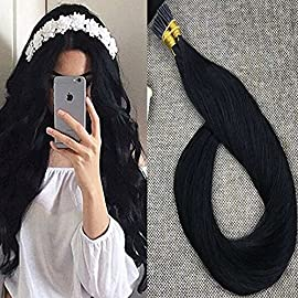 Full Shine Fusion Hair Extensions I Tip Hair Extensions 16 inch Remy Human Hair 50 Strands 0.8 Gram Per Strand Color No. 1 Jet Black Stick tip Hair Extensions Human Hair Straight Keratin Hair