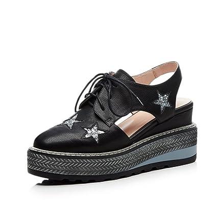 4c210506d868 Women s Shoes 2018 Summer Leather Sandals Female Leisure Waterproof  Platform Hollow Slope Heel Thick Bottom Five