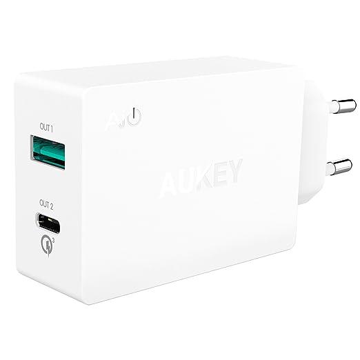 55 opinioni per AUKEY USB C Caricatore da Muro con 2 Porte 31,5W, 1 Porta USB C e 1 Porta con