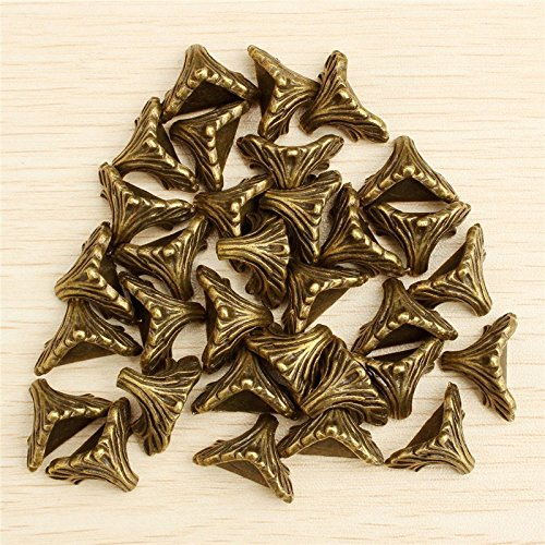 FunnyToday365 30Pcs Dorabeads Box Corner Foot Protector Desk Box Edge Antique Bronze Pattern Carved 19Mm X 11Mm