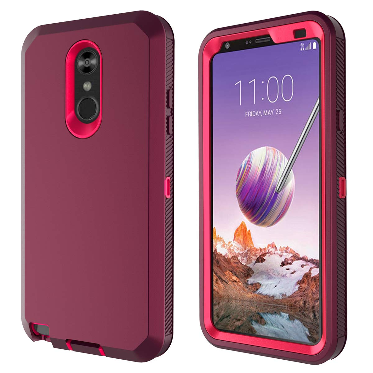 LG Stylo 4 Case, Hybrid High Impact Resistant Rugged Full-Body Shockproof Tri-Layer Heavy Duty Case, with Kickstand & Built-in Screen Protector for LG ...