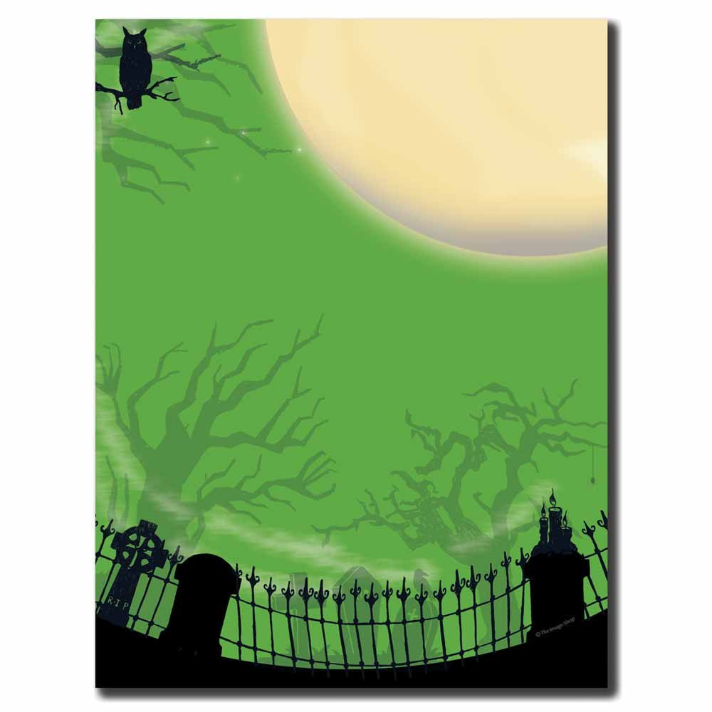 Image Shop Spooky Graveyard Halloween Letterhead Laser & Inkjet Printer Paper (100pk),Green, Black