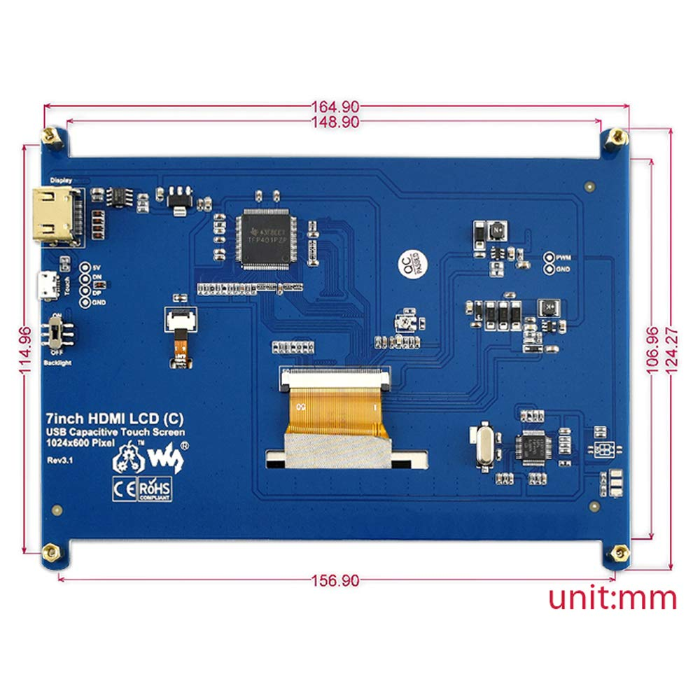 ALLPARTZ 7 inch HDMI LCD (C) with Bicolor Cover Case 1024x600 IPS Capacitive Touch Screen Display for Raspberry Pi