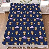 iPrint Bedding Bed Ruffle Skirt 3D Print,Night and Moon Happy Sleepy and Alert Animals,Fashion Personality Customization adds Color to Your Bedroom. by 70.9''x94.5''