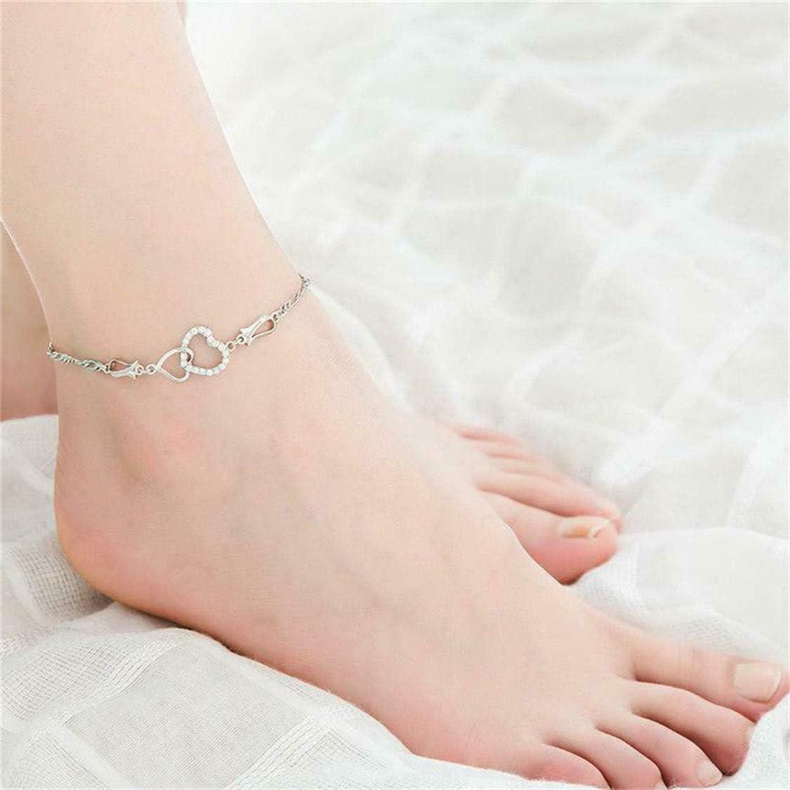 Idiytip Strass Bracelet de Cheville Double Coeur Sculpt/é Bracelet Bracelet de Cheville Accessoires Cha/îne de Pied Bijoux de Plage,Argent