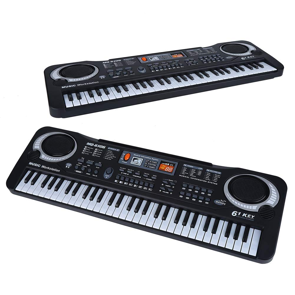 Electronic Piano, 61-Key Electric Digital Keyboard Piano Portable Musical Instruments Toy with Microphone by lyrlody (Image #9)