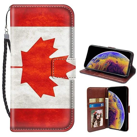 brand new 0ba6e ce087 Amazon.com: Canada Flag iPhone Xs Max Case for Kickstand PU Leather ...