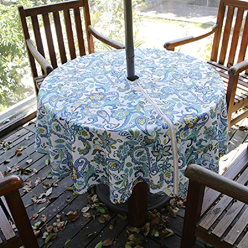 Lamberia Patio Outdoor Umbrella Tablecloth with Zipper and Umbrella Hole, Water and Stain Resistant (60 Round, Paisley)