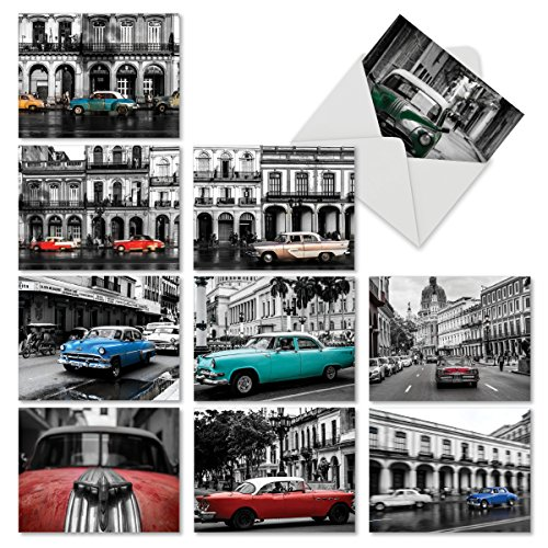 10 'Havana Hotrods' Note Cards with Envelopes, Classic Car Stationery Set for All Occasions, Assorted Blank Greeting Cards for Weddings, Father's Day, Birthdays, Thank You 4 x 5.12 inch M6550OCB