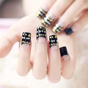 Paquete de 24 uñas postizas falsas estilo francés, paquete de puntas de uñas para decoraciones de fiesta con estrás para bodas.: Amazon.es: Belleza