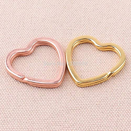 TreeMart 10PCS /lot Rose Gold and Gold Color Metal Heart Shape Key Chain Buckle for Backpack Lanyard DIY Craft