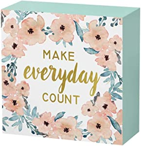 SANY DAYO HOME 6 x 6 inches Colorful Wooden Box Sign with Inspirational Saying for Home and Office Decor - Make Every Day Count