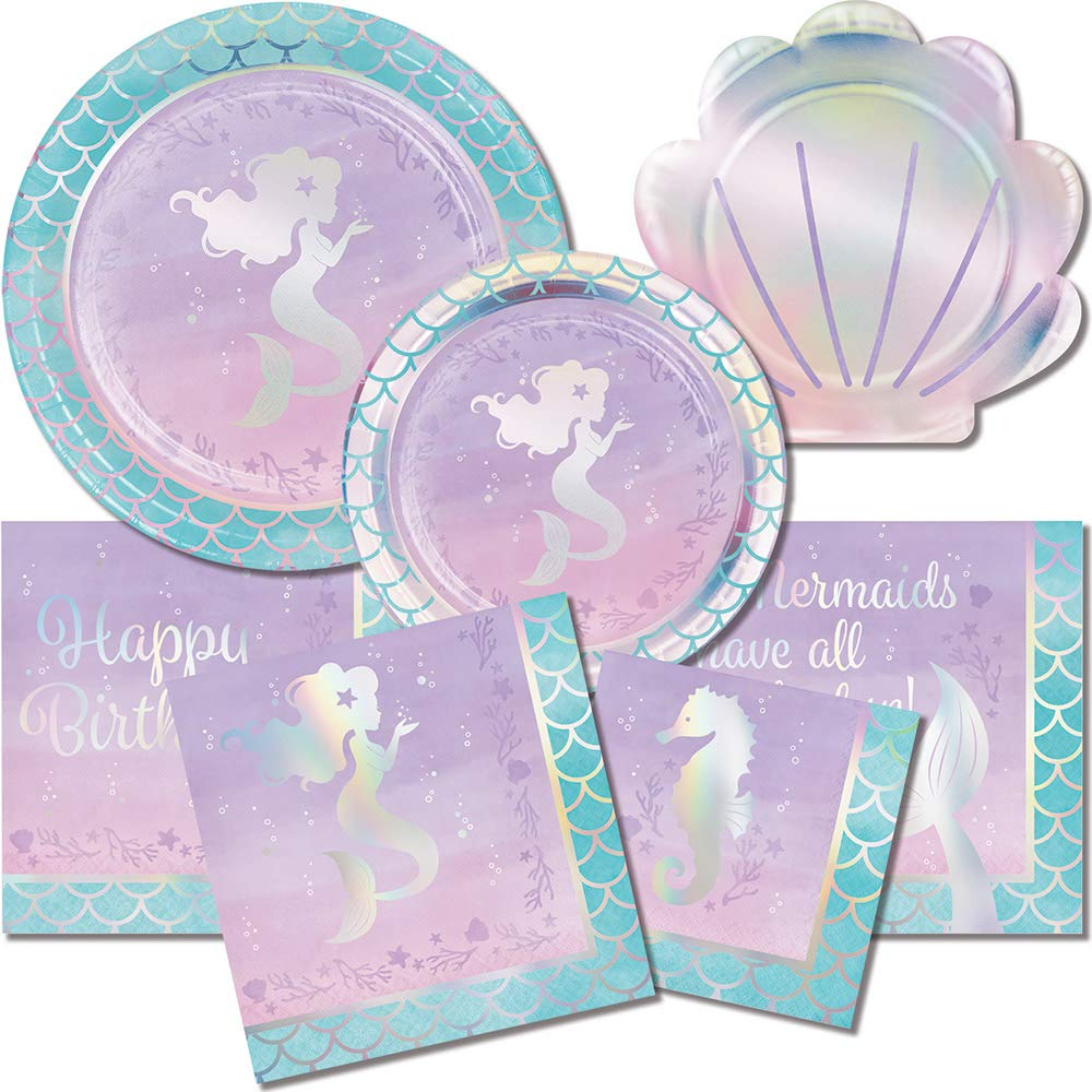 Creative Converting 336715 Iridescent Mermaid Party Napkins Purple