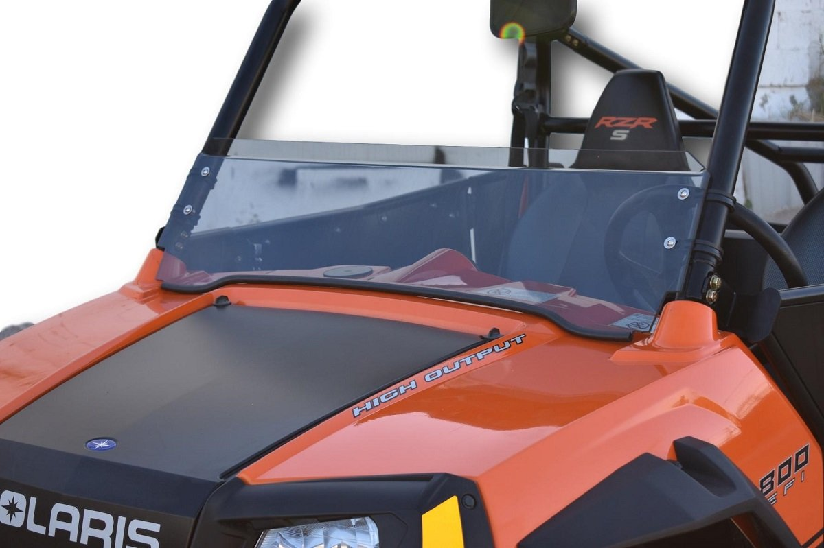2008-2014 Polaris RZR 800/900 Tinted Half Windshield - 1/4'' Thick with Black Clamps - Tinted