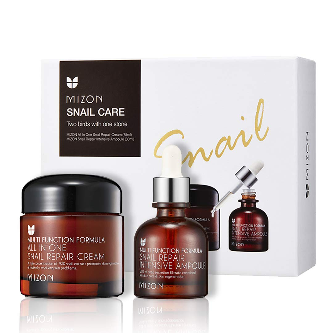 Mizon Snail Care Two Birds with One Stone Set: All in One Snail Repair Cream (75ml) and Snail Repair Intensive Ampoule (30ml), Day and Night Face Moisturizer with Snail Mucin, Korean Skincare Set