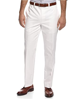 37285636 Lauren By Ralph Lauren Solid Cotton Men's Dress Pants, Flat Front