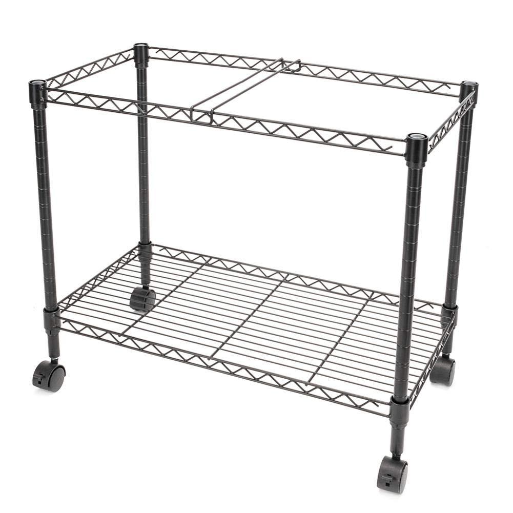 Rainrain27 Single Tier Metal Rolling Mobile File Cart 23.6 x 12.6 x 18 Black
