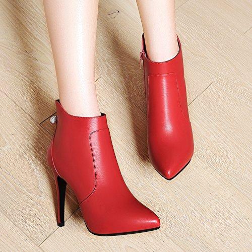 De Rojo Punta Zapatos Botas Mujer Zapatos Un Y AJUNR Zapatos Vino De Único High 10Cm La Heeled La De Moda Versátil De Delgada Coreana Con Versión Martin Inicio Botas Y 40 Mujer 37 fqTTdwC